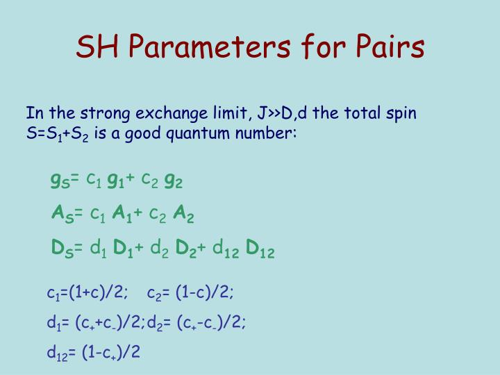 SH Parameters for Pairs