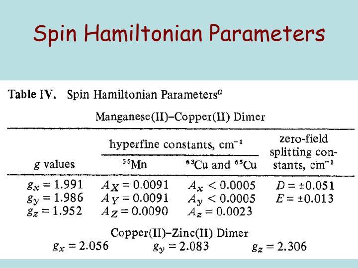 Spin Hamiltonian Parameters