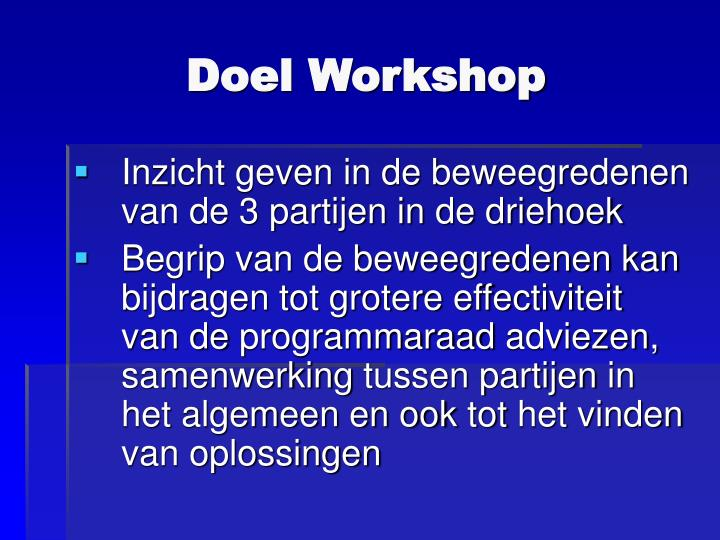 Doel Workshop