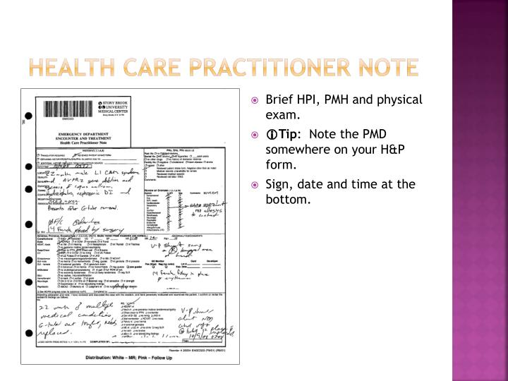 Health care practitioner note
