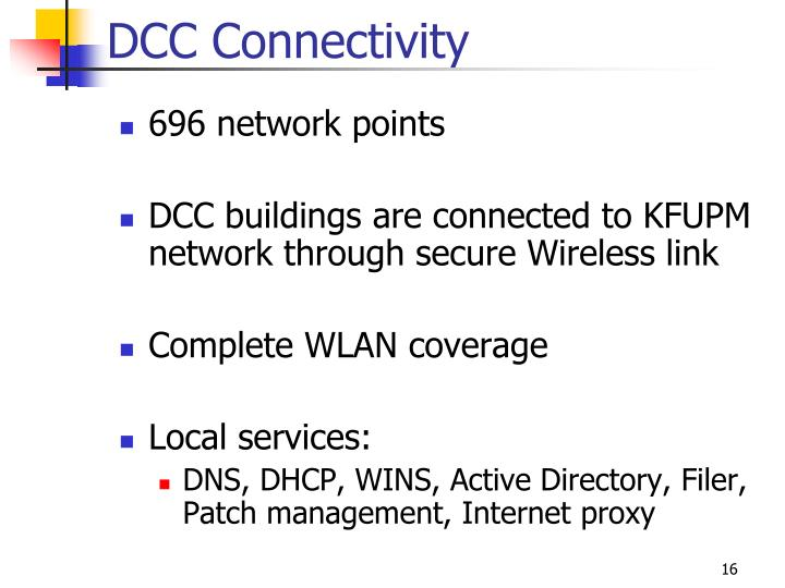 DCC Connectivity