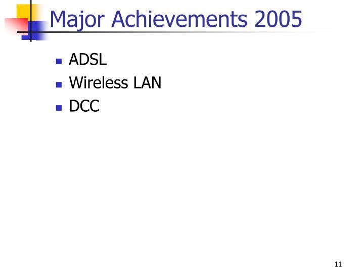Major Achievements 2005