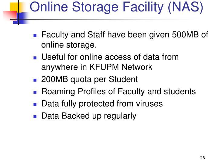 Online Storage Facility (NAS)