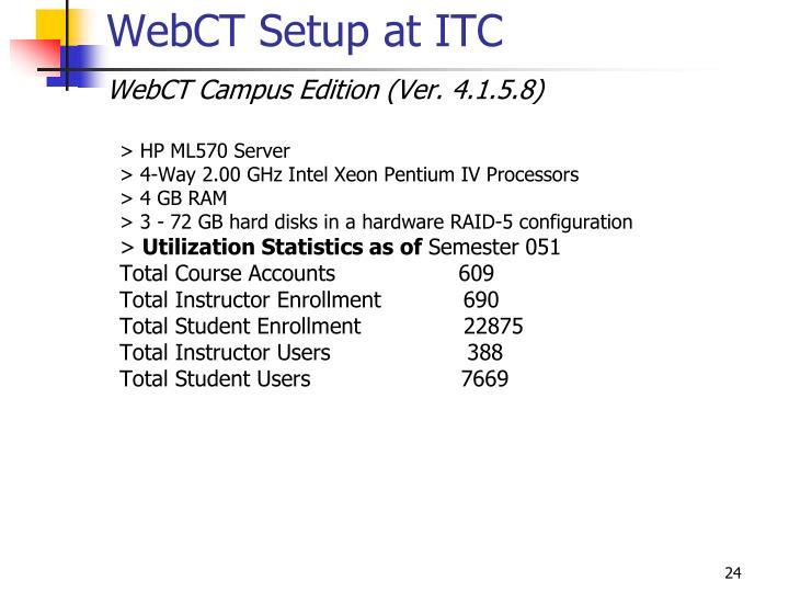 WebCT Setup at ITC