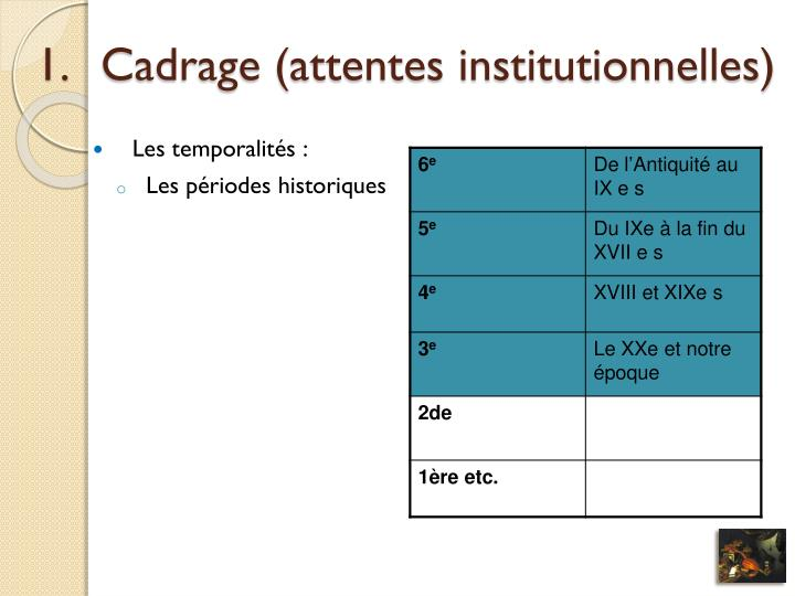 Cadrage (attentes institutionnelles)