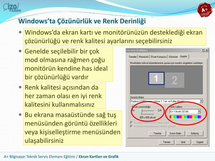 Windows'ta Çözünürlük ve Renk Derinliği