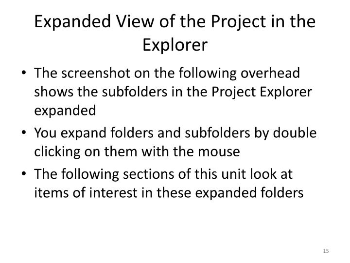 Expanded View of the Project in the Explorer