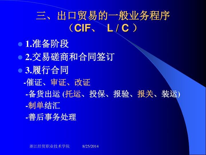 三、出口贸易的一般业务程序