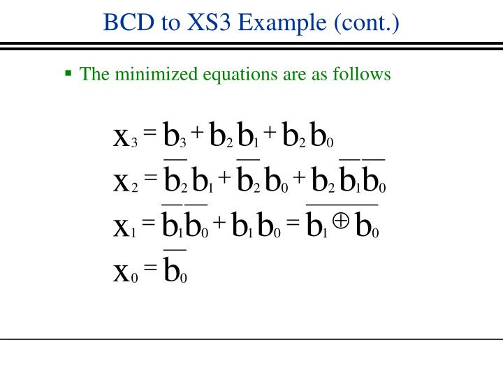 BCD to XS3 Example (cont.)