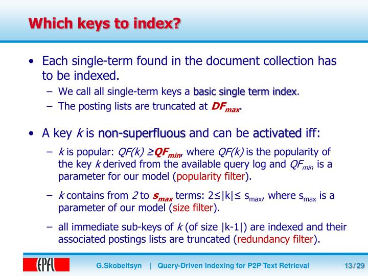 Which keys to index?