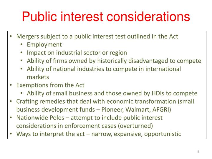 Public interest considerations