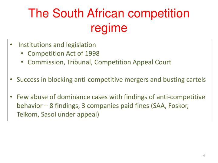 The South African competition regime