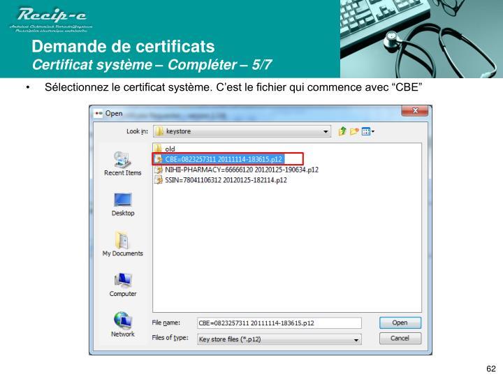 Demande de certificats