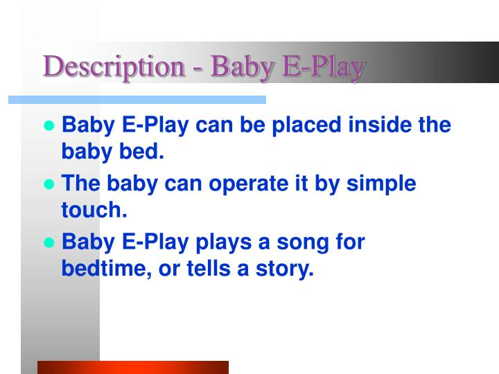 Description - Baby E-Play