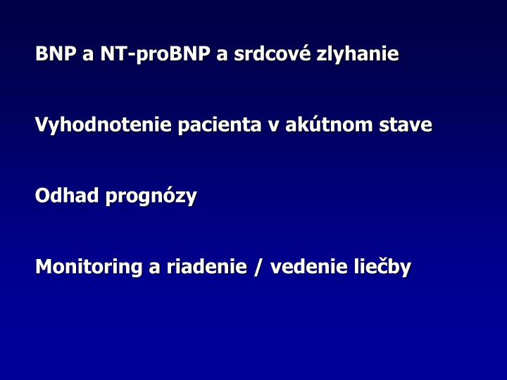 BNP a NT-proBNP a srdcov zlyhanie