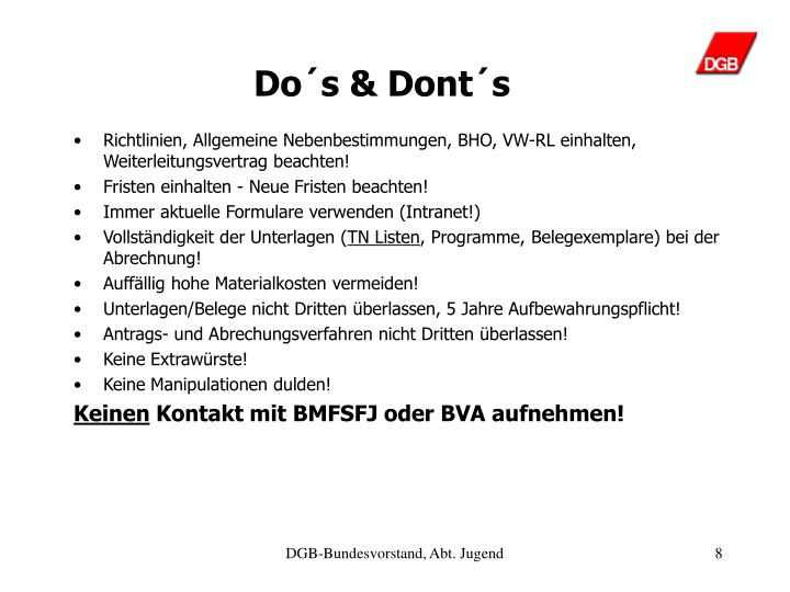 Do´s & Dont´s