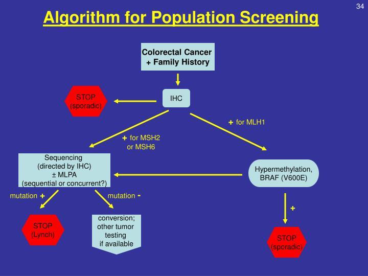 Algorithm for Population Screening