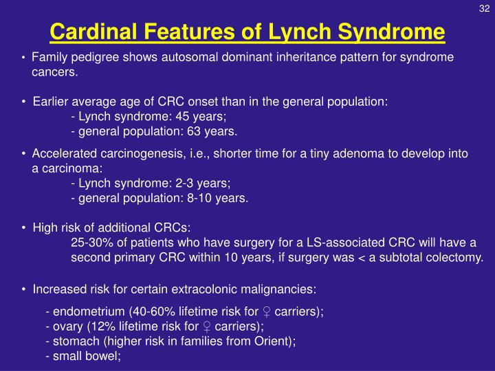 Cardinal Features of Lynch Syndrome
