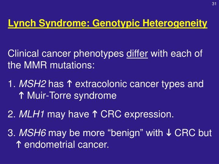 Lynch Syndrome: Genotypic Heterogeneity