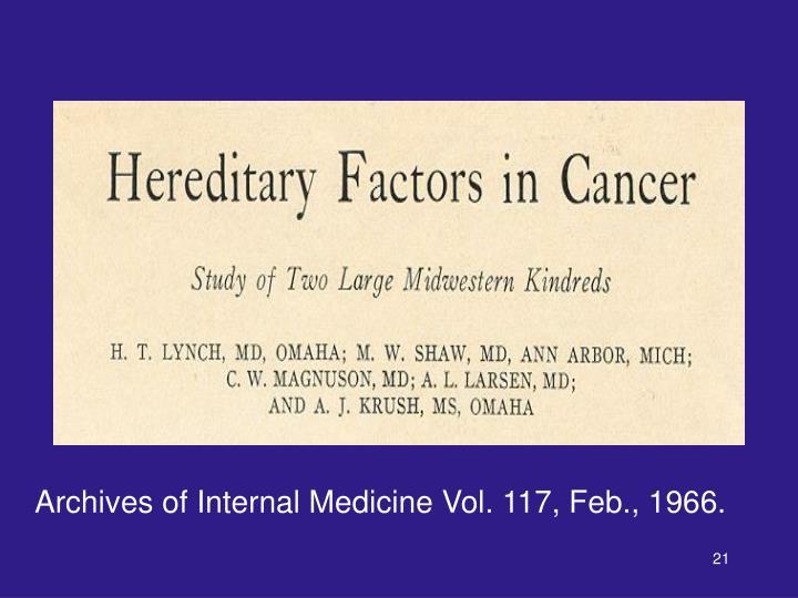 Archives of Internal Medicine Vol. 117, Feb., 1966.