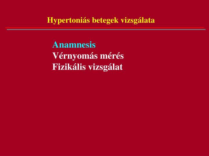 Hypertoniás betegek vizsgálata