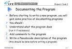 documenting the program