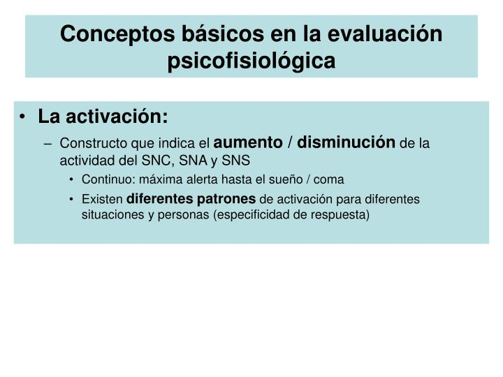 Conceptos básicos en la evaluación psicofisiológica