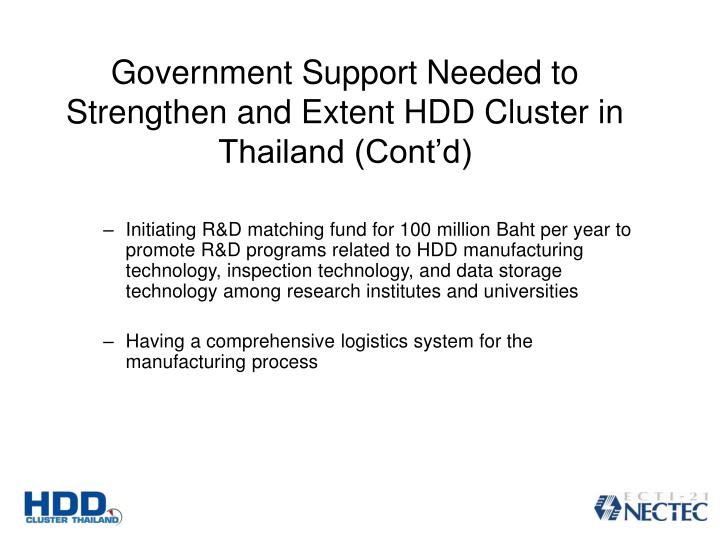 Government Support Needed to Strengthen and Extent HDD Cluster in Thailand (Contd)