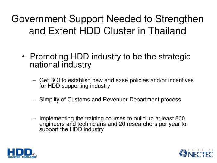 Government Support Needed to Strengthen and Extent HDD Cluster in Thailand