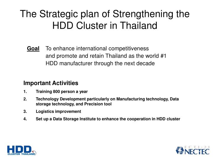 The Strategic plan of Strengthening the HDD Cluster in Thailand
