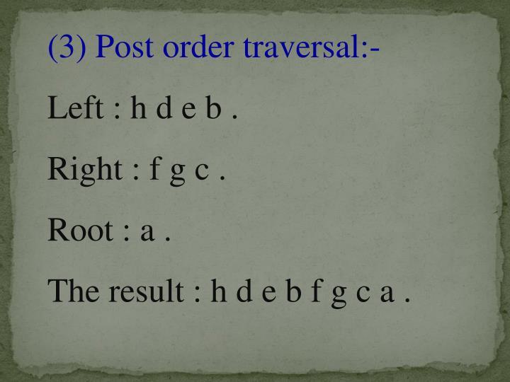 (3) Post order traversal:-