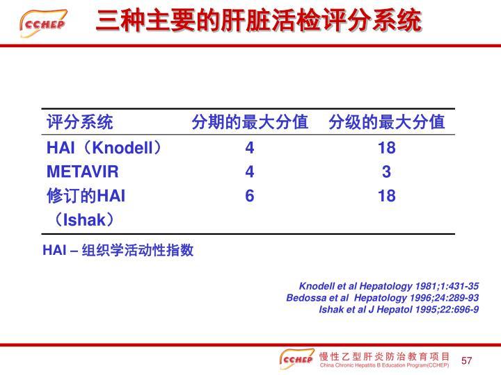 三种主要的肝脏活检评分系统
