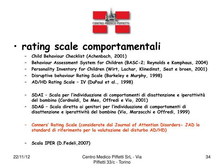 rating scale comportamentali