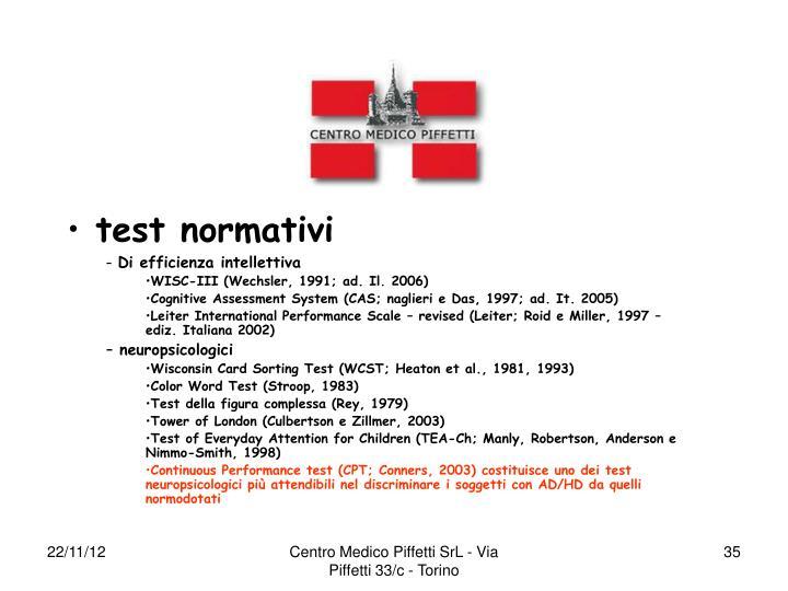 test normativi