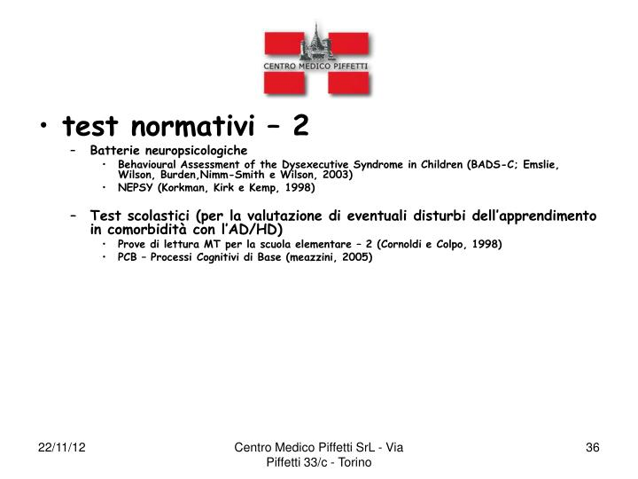 test normativi – 2