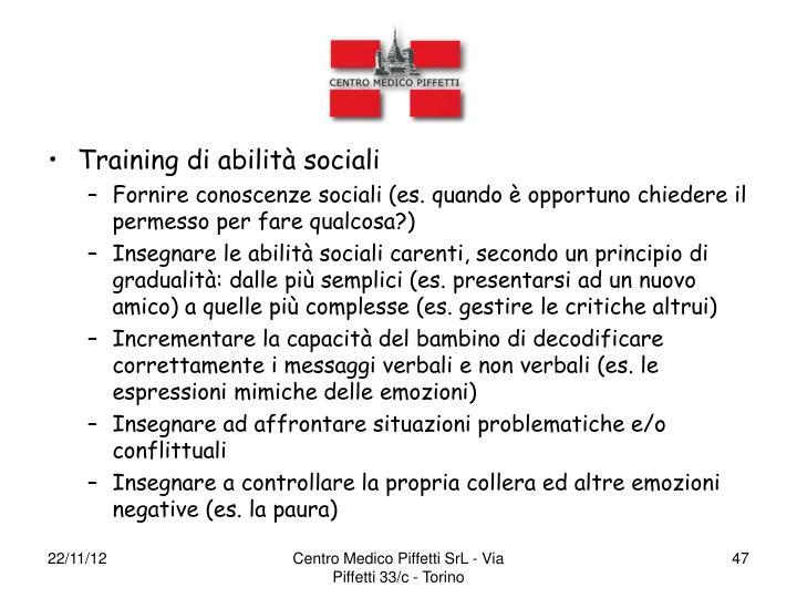 Training di abilità sociali