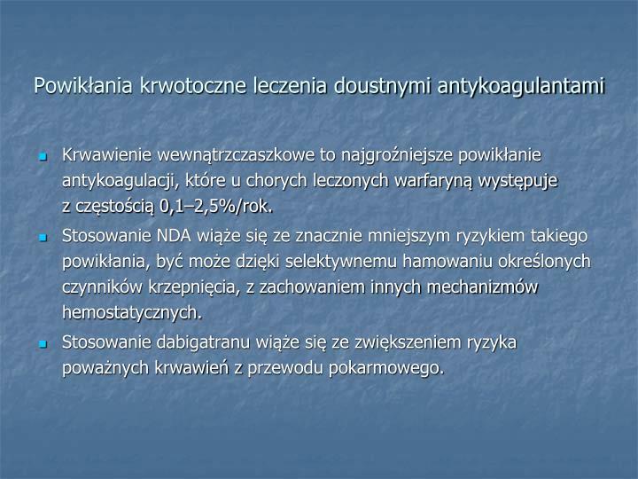 Powikłania krwotoczne leczenia doustnymi antykoagulantami