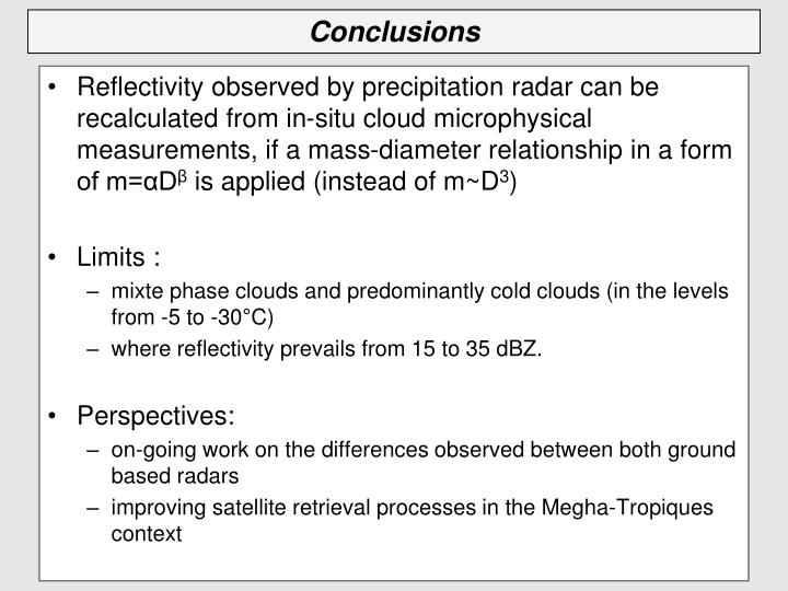 Reflectivity observed by precipitation radar can be recalculated from in-situ cloud microphysical measurements, if a mass-diameter relationship in a form of m=αD