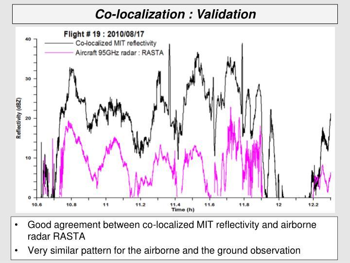 Good agreement between co-localized MIT reflectivity and airborne radar RASTA