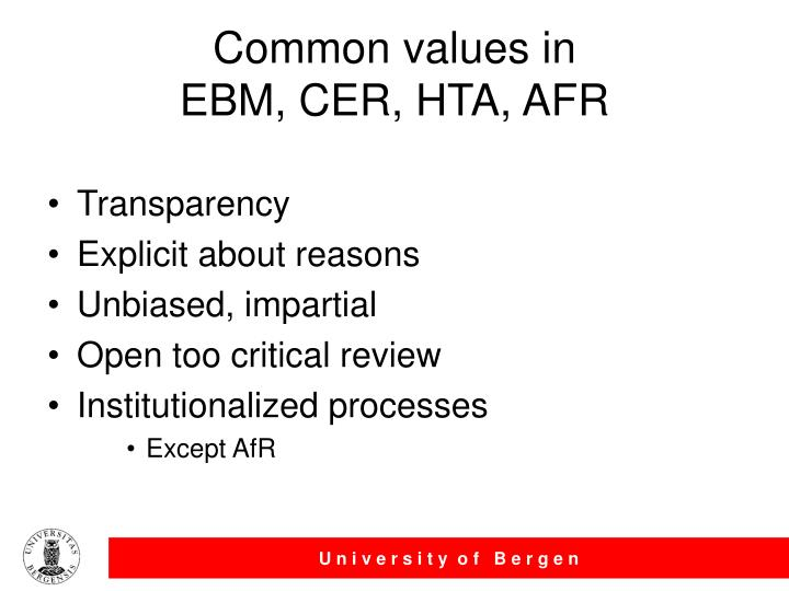 Common values in