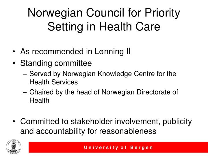 Norwegian Council for Priority Setting in Health Care