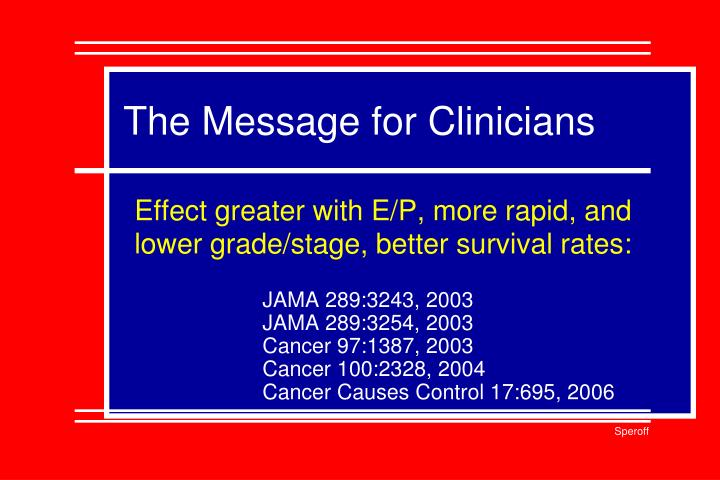 The Message for Clinicians