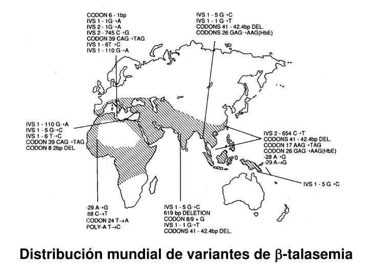 Distribución mundial de variantes de
