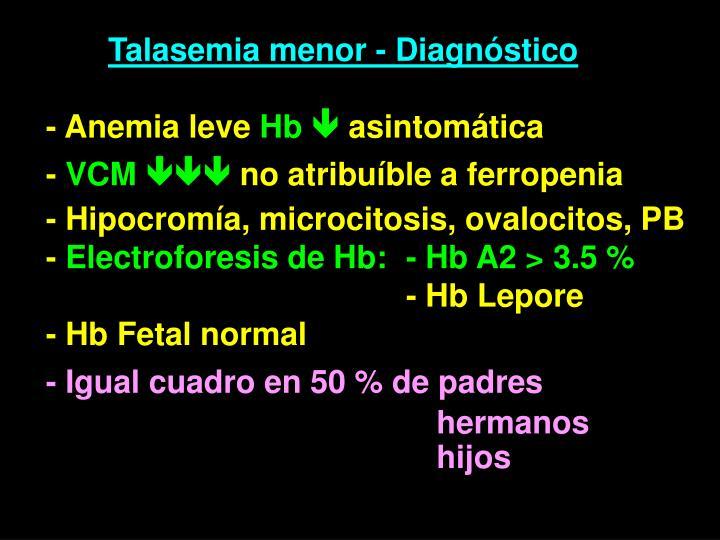 Talasemia menor - Diagnóstico