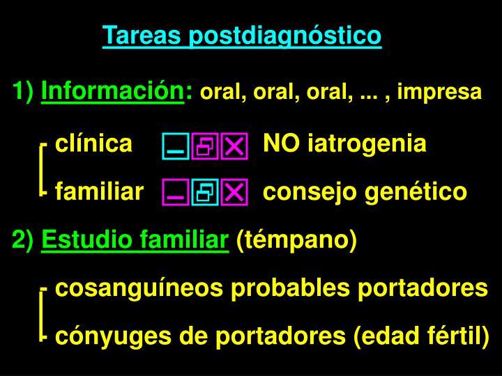Tareas postdiagnóstico