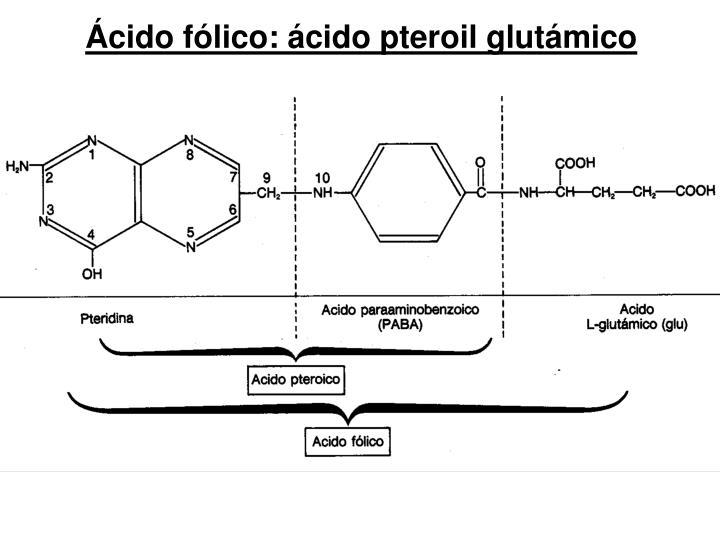 Ácido fólico: ácido pteroil glutámico