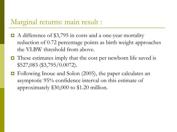 Marginal returns: main result :