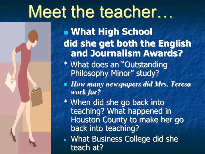 Meet the teacher…