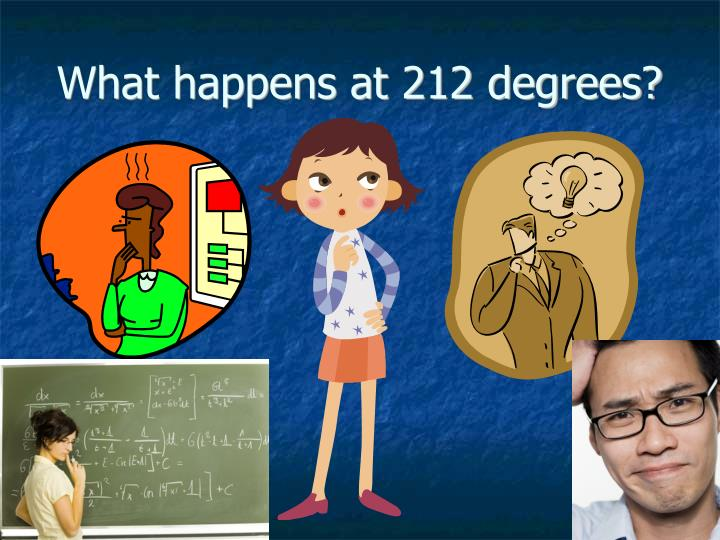 What happens at 212 degrees?