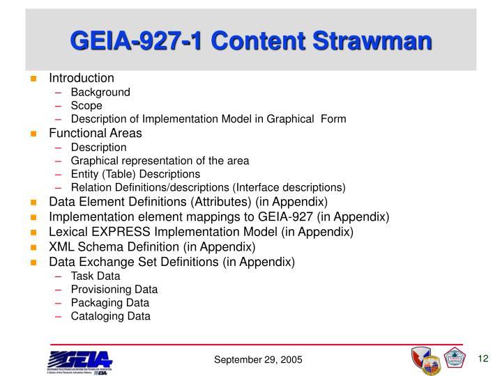 GEIA-927-1 Content Strawman